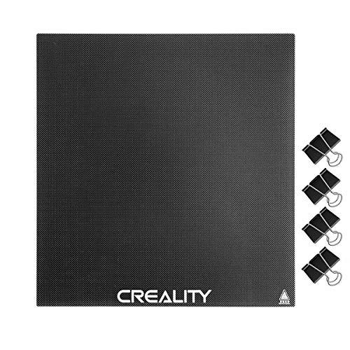 Creality Ender 3 Cama de Cristal, Plataforma de impresora 3D placa de vidrio con 4 clips para impresora 3D Ender 3/Ender 3 Pro/Ender 3 V2/Ender 5, 235 x 235 x 4 mm