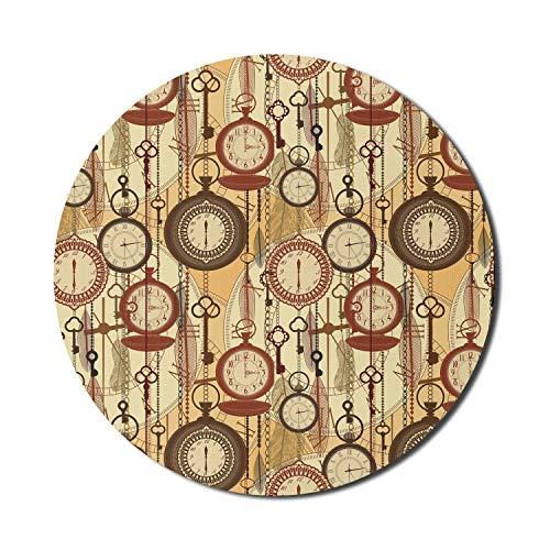 Beige Mouse Pad für Computer, Retro-Stil Old Nostalgic Uhren Federn und Schlüssel 1920er Jahre Moderne böhmische Kunst, Runde rutschfeste dicke Gummi Modern Gaming Mousepad, 8 'rund, Braun Rot Gelb
