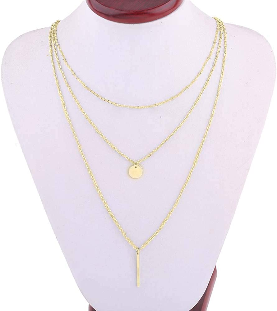 lEIsr00y Adjustable Elegant Necklace, Fashion Women 3 Layer Bar Round Pendant Long Chain Necklace Party Jewelry - Golden, Gift for Ladies Girls Mom