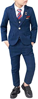Boys Suit Set Formal Slim Fit Dresswear 4 Piece Vest and Pants Suit