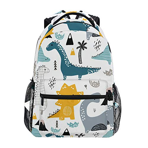 Girls Dinosaur Backpacks for School Cute Dino Animal White Bookbags for Kids Boy Teen Toddler Fashion Daypack Rucksack Travel Laptop Bag
