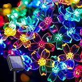 Paquete de 2 luces solares de flores de 7 m, 50 luces LED de cerezo con energía solar, 8 modos, cadena de luces multicolor al aire libre para Navidad, Día de San Valentín, Día de la Madre