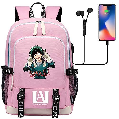 Outdoor Oxford Backpack Unisex Learning Backpack Laptop Backpack USB Port 45cm*30cm*15cm Pink