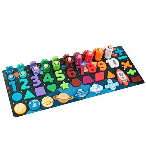 Angelspiel, MOPOIN Montessori Spielzeug Steckspiel mit 45x18cm Fische Steckbausteinen Multifunktion Holzspielzeug Pädagogisches Spielzeug Kinderspielzeug ab 3 Jahre