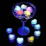 Gwill - Juego de 12 unidades de cubitos de hielo con sensor de agua, multicolor, intermitente, con forma de corazón, para fiestas, bodas, clubes, bares, bebidas y decoración de KTV
