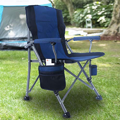 Homcosan Portable Camping Chair Folding Quad Outdoor Large Heavy Duty Support 330 lbs Thicken 600D Oxford with Padded Armrests Storage Bag Beverage Holder Carry Bag for OutsideBlue