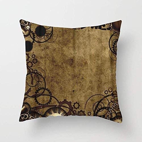 FFMZ5 Brown Industrial Steam Punk Style Vintage Victorian Square Throw Pillow Cover Cushion Case for Sofa Bedroom Car