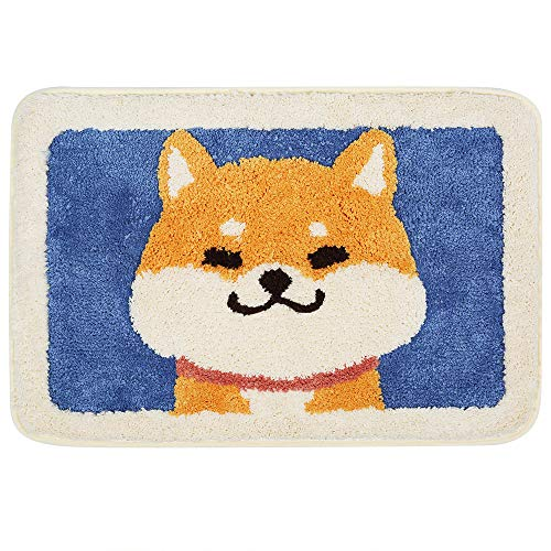 """Ankah Shaggy Bath Mat Shower Rug, Soft and Comfortable, High Absorbent and Anti Slip, Machine Washable Fit for Bathtub, Shower and Bath Room 18"""" x 26"""" (Cute Dog)"""