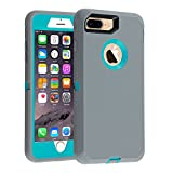 Case for iPhone 7 Plus/8 Plus Heavy Duty Co-Goldguard Armor 3 in1 Built-in Screen Protector Rugged Cover Dust-Proof Shockproof Drop-Proof Shell Compatible with Apple iPhone 7+/8+ 5.5,Gray/Green