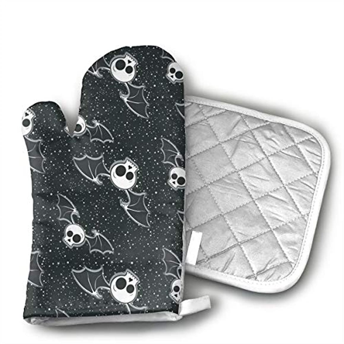 Xayeu Halloween Skulls Bat Oven Mitts for Kitchen Heat Resistant, Oven Gloves for BBQ Cooking Baking, Grilling,