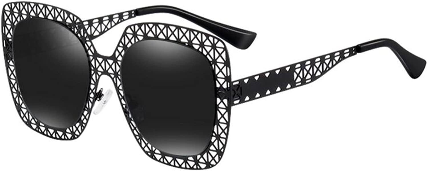 QY Sunglasses 2018 New Women's Individual Sunglasses  Metal Hollow Large Frame  100% UV Predection Eyewear Accessories
