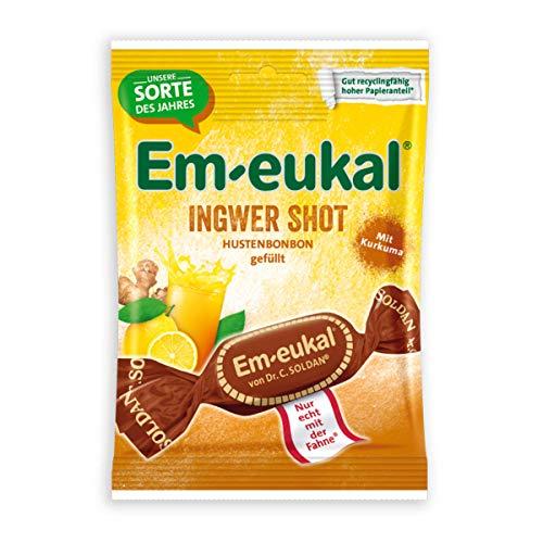 Em-eukal Ingwer Shot Hustenbonbons gefüllt fruchtig scharf 75g