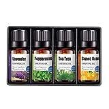 Set de Regalo de Aceites de Aromaterapia,100% Naturales Aceites Esenciales,Puros Sin Agua,Para Humidificador,Difusor,Vaporizador,Velas,Jabones,Masajes,Aromaterapia(10ml) (4PCS)