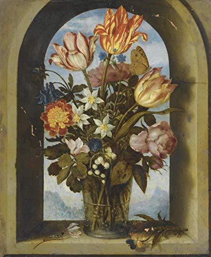 Ambrosius Bosschaert Giclee Auf Leinwand drucken-Berühmte Gemälde Kunst Poster-Reproduktion Wand Dekoration(The Elder Ein Stillleben mit Moos, Tulpen, Maiglöckchen und anderen Blumen) #XFB