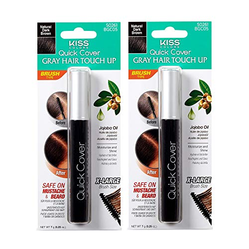 Kiss Colors Quick Cover Gray Hair Touch Up Brush Natural Dark Brown BGC05 (2pcs)