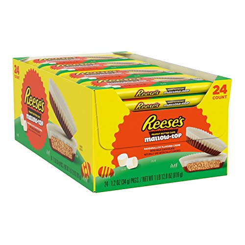 Reese's MallowTop Milk Chocolate and Marshmallow flavored white crème Peanut Butter Cups Candy Easter 1.2 oz Pack 24 Count, Peanut-Butter, 28.8 Ounce by AmazonUs/HEHE9