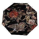 Paraguas anti-UV para sol/lluvia,Bordado Vintage pájaros y pájaros jaula y flores de patrones sin fisuras Paraguas de viaje a prueba de viento: compacto, automático.
