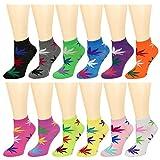12-Pack Women's Ankle Socks Assorted Colors Size 9-11 (Marijuana Leaf) -  Falari