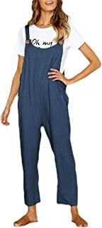 Macondoo Womens Wide Leg Pants Loose Solid Color Trousers Overalls