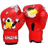 Billig Gute Qualität Breathable PU-Leder Kind Baby Kinder Handschuhe Thai Karton Kick Kämpfen Graffiti Boxen Muay Lustig Boxe Handschuhe Zzib (Color : Red)