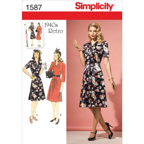 Simplicity Creative Patterns 1587 Misses' and Miss Petite 1940's Vintage Dress, R5 (14-16-18-20-22)