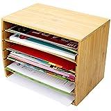 Trieur de documents de bureau en bambou Document A4Organiseur 5compartiments de rangement
