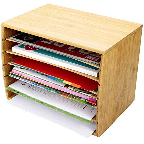 Organiser per documenti formato A4, da scrivania, con 5 scomparti, in bambù