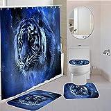 MQWEMJ Juego de 4 Cortinas de Ducha, Tigre Animal Blanco Negro Azul con alfombras Antideslizantes, Tapa de Inodoro y Alfombrilla de baño, Cortina de Ducha, Tela Impermeable 150×180 cm