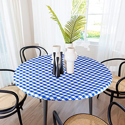Sorfey Indoor/Outdoor Vinyl Elastic Edge Fitted Tablecloth Cover. Checkered Design, Flannel Backed Leak Proof Lining, Easy to Clean. Stretched to Fit 48 Inch Round Table, Blue