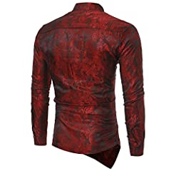 Sliktaa Mens Casual Dress Shirts  Steampunk Shirt Long Sleeve Slim Fit Floral Button Down Wing Collar Shirts, M, Wine Red #1