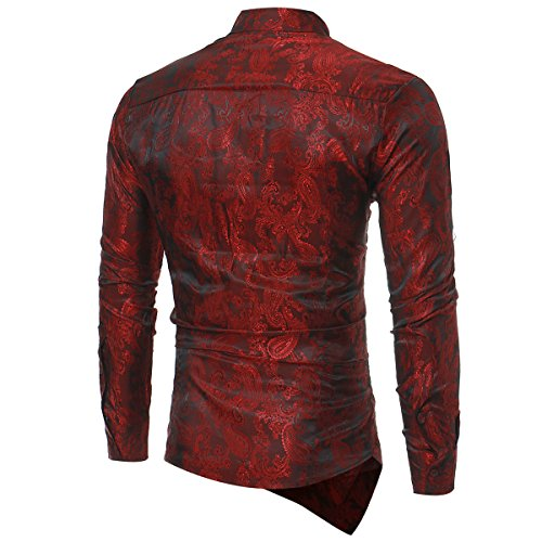 Sliktaa Mens Casual Dress Shirts  Steampunk Shirt Long Sleeve Slim Fit Floral Button Down Wing Collar Shirts, M, Wine Red steampunk buy now online