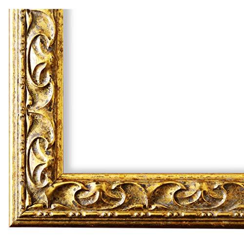 Bilderrahmen Mantova Gold 3,1 - WRF - 50 x 70 cm - 500 Varianten - alle Größen - handgefertigt - Galerie-Qualität Antik, Barock, Modern, Shabby, Landhaus - Fotorahmen Urkundenrahmen Posterrahmen