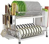 KZOBYD Escurreplatos de cocina de 2 niveles, de metal, inoxidable, con cesta para cubiertos y bandeja de goteo, para platos, cubiertos, tazas, platos, cuencos, platos y tabla de cortar