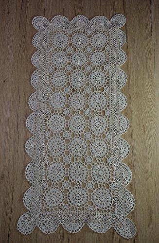 Consept Camino de mesa de ganchillo, mantel de encaje hecho a mano, idea de regalo, 100% algodón, 30 x 45 cm, color blanco