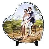 YAOSEN Personalized Heart-Shaped Rock Slate Custom Photo Plaque Picture Frames Memorial Stone Flagstone (Heart Shape)