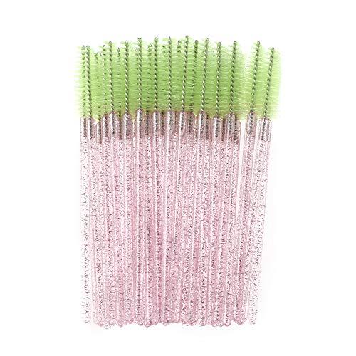 50 Pcs Schönheit Werkzeuge zum Zeichnen Verfügbar Make-up Augenbürste Pinsel Sicherungskämme mit Lash Mascara Spiral Wande Augenapplikator(Pink-Green)