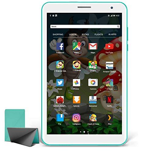 Tablet Niños 8 Pulgadas, Android 10.0 Pie Tablet PC para Niños, Pantalla IPS HD WiFi Bluetooth Quad-Core Google Play Certificación GMS 3GB + 32GB, Tablets Baratas y Buenas (Verde)