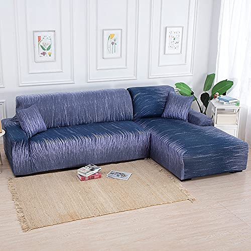 ASCV Sala de Estar Impresión en Color sólido Funda de sofá de Esquina Funda de sofá elástica Funda de sofá en Forma de U Estiramiento en Forma de L 1 2 3 4 plazas A3 4 plazas