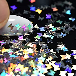Tempea 12 colors Aurora chameleon psychedelic rainbow NAIL ART GLITTER mirror effect shiny laser silver metallic gold marble nail shimmer dust unicorn purple blue nail dip powder (Butterfly)