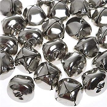 Jingle Bells 1 Inch Craft Bells Bulk DIY Bells for Christmas Festival Decoration Home Decoration 50pcs Silver