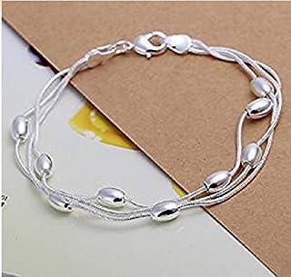 Hwiionne Bracciale in argento 925 placcato a mano con catena di gioielli a tre fili, con ovale liscio