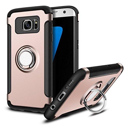 MaiJin Funda para Samsung Galaxy S7 Edge (5,5 Pulgadas) Multifunción Anillo sostenedor movil de 360 Grados con función de Soporte Rugged Armor Cover Case (Oro Rosa)