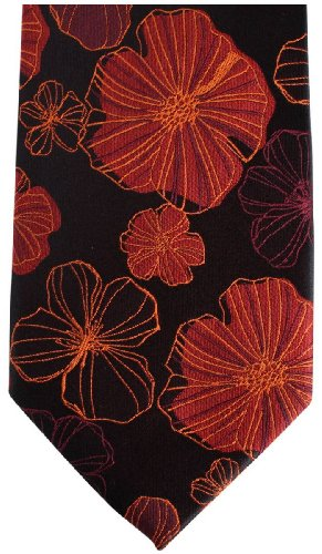 Knightsbridge Neckwear Black/Red Kensington Floral Silk cravate de