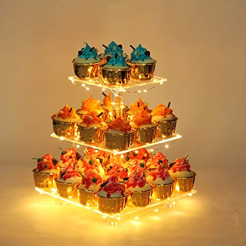 YestBuy 3 Tier Square Cupcake Stand - Premium Cupcake Holder - Acrylic Cupcake Tower Display - 3 Tier Acrylic Display for Pastry + LED Light String - Ideal for Weddings, Birthday Parties( Pink Light)