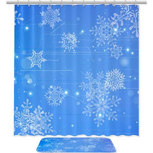 Juego de 2 cortinas de ducha y estera de 179,8 cm, tela impermeable y juego de alfombras con ganchos