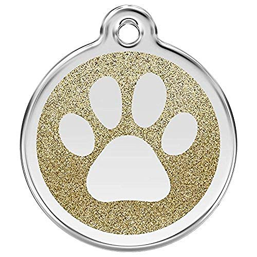 RED DINGO Hundemarke GLITTER Pfote gold, mittel