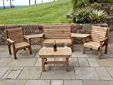 WOODEN <span class='highlight'>GARDEN</span> FURNITURE ANGLED COMPLETE SET COFFEE TABLE 1 BENCH 2 CHAIRS AND 2 DETATCHABLE TRAYS