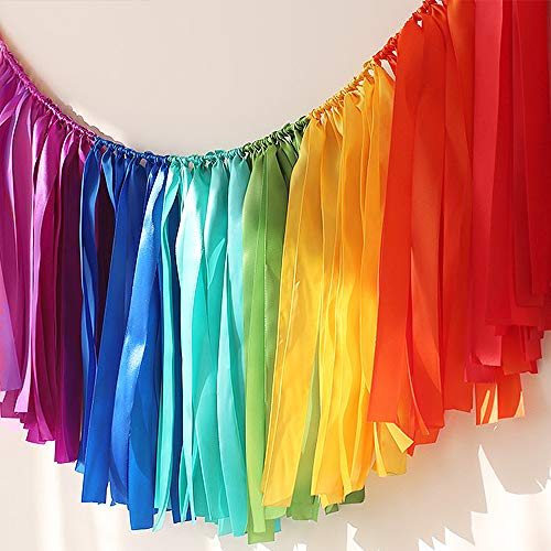 Ribbon Garlands Handmade Garland Hanging Decorations Preassembled Ribbon Tassel Garland Fabric Shabby Chic Banner for Wedding Baby Shower (Rainbow Tassel 7 Colors 40 x14in)