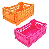 Folding Plastic Storage Box, Collapsible Crate Basket Closet Containers, Foldable Organizer for Home Office Bedroom Kitchen Drawer Laundry Pull Out Drawer Dividers for Clothes