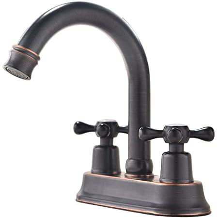 Ufaucet Modern Oil Rubbed Bronze 2 Handle Centerset Stainless Steel Bathroom Faucet,Oil Rubbed Bronze Bathroom Sink Faucet